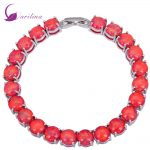 Glam Luxe Mysterious Silver Red Fire Opal Bracelets & bangles for teen girls <b>wedding</b> engagement <b>jewelry</b> 19.5cm 7.67 inch B432