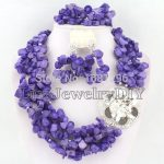 Purple African Coral Beads Jewelry Sets Nigerian Wedding African Beads Jewelry Sets HD0310