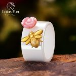 Lotus Fun Real 925 Sterling <b>Silver</b> Natural Handmade Fine <b>Jewelry</b> Ceramic Ring Cute Bee Kiss from a Rose Rings for Women Bijoux