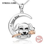 Aliexpress silver 925 cute puppy dog holding the rose diy chain pendant&necklace European fashion <b>jewelry</b> <b>making</b> for lover gift