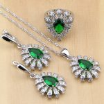 Green Zircon White CZ 925 Sterling Silver Party <b>Jewelry</b> Sets For Women <b>Accessories</b> Earrings/Pendant/Necklace/Rings