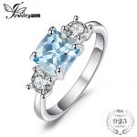 JewelryPalace Classic 2.58ct Square Natural Sky Blue Topazs & CZ Engagement Rings For Women 925 Sterling Silver Fashion <b>Jewelry</b>