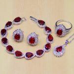 Water Drop Red CZ White Zircon 925 Sterling Silver <b>Jewelry</b> Sets Women Earrings/Pendant/<b>Necklace</b>/Ring/Bracelet