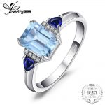 JewelryPalace Elegant Top Natural Sky Blue Topazss Created Sapphires Engagement Rings For Women 925 Sterling Silver <b>Jewelry</b>