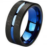 Tungsten Rings 8mm <b>Wedding</b> Band Blue Center Groove Black Line Brushed Couples Engagement Rings Fashion <b>Jewelry</b>