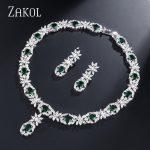 ZAKOL Trendy Style Sliver Color Green Zirconia Bride Wedding <b>Jewelry</b> Set Flower Earrings <b>Necklace</b> Set For Europe Women FSSP2007