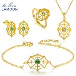 LAMOON Natural Green Emerald S925 Sterling <b>Silver</b> Jewelry Sets Fine Jewelry for Women Gemstone 14K Gold Wedding Gift V044-1