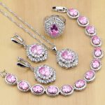 925 Sterling <b>Silver</b> Jewelry Pink Cubic Zirconia White CZ Jewelry Sets For Wedding Earrings/Pendant/Necklace/Rings/<b>Bracelet</b> T224