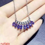 KJJEAXCMY boutique jewels 925 sterling <b>silver</b> inlaid with natural stone tanzanite <b>necklace</b> set chain jewelry gem.