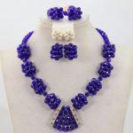 2017 <b>Handmade</b> African Beaded Balls New Royal Blue Crystal Beaded Pendant Necklace Set Gift <b>Jewelry</b> Set Free ShippingABH284