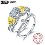 JQUEEN Brand <b>Jewelry</b> 1.25ct Cubic Zirconia Stone Skull Ring 925 <b>Sterling</b> <b>Silver</b> Rings for Women set Wedding Engagement <b>Jewelry</b>