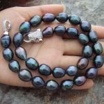 HOT 11-13MM NATURAL SOUTH SEA BAROQUE BLACK PEARL <b>NECKLACE</b> 18 INCH Leopard Clasp