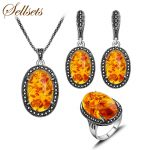 Sellsets Vintage <b>Jewelry</b> Sets <b>Fashion</b> Black Crystal And Oval Resin Antique Silver Color Alloy Jewellery Set Women Party Gift
