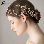 QUEENCO Gold Leaf Bridal Hair Comb Crystal Hair Vine Wedding Hair Accessories Girl's Headpiece Hair <b>Jewelry</b>
