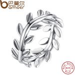 BAMOER New Collection Authentic Laurel Wreath Laurel Leaves Ring 100% Fine 925 Sterling Silver <b>Jewelry</b> PA7156