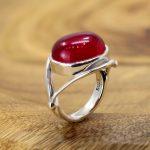 S925 sterling silver <b>jewelry</b> fashion pure <b>handmade</b> lady red corundum ring