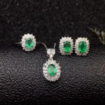 Dazzling emerald wedding jewelry set for woman 4 mm * 6 mm real natural emerald ring <b>earrings</b> pendant set <b>silver</b> emerald jewelry