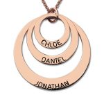 Rose Gold Color Three Disc Necklace <b>Handmade</b> Disc Necklace with Kids Name Personalized <b>Jewelry</b> for Moms Nameplate Necklace