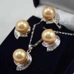 Women's Wedding 10mm yellow shell pearl earring pendant ring set Natural silver-<b>jewelry</b>