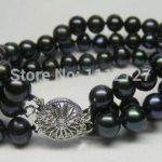 "3 rows 7-8 mm Black Akoya cultured pearl bracelet 7.5 ""beads Fashionable <b>jewelry</b> <b>making</b> Design natural stone ye2087 wholesale pr"