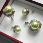 Prett Lovely Women's Wedding noble <b>jewelry</b> set 10mm green shell pearl,ring, pendant & stud earring