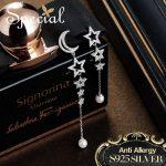 Special Fashion 925 <b>Sterling</b> <b>Silver</b> Drop Earrings Moon & Star Long Earrings Natural Pearls <b>Jewelry</b> Gifts for Women S2746E