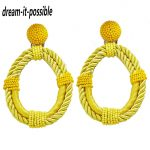 Dream-it-possible nice personality good quality fancy big Bohemian <b>handmade</b> rope with bead hoop earring <b>jewelry</b> 2018 charm