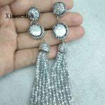 <b>Handmade</b> Silver Rhinestone Long Earrings Women Nature Pearl Earring 2017 Vintage Big Drop Beaded Earrings for Women <b>Jewelry</b> Gift