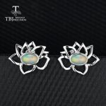 TBJ,Lotus flower shape with 1ct ethiopian rainbow opal romantic special <b>earring</b> in 925 sterling <b>silver</b> fine jewelry for women