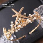 HIMSTORY Gorgeous Retro Baroque Gold Large Starfish Bride Hair Tiaras Crown Wedding Women Queen Princess Prom Hair <b>Jewelry</b>