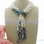 """49"""" White Pearl Abalone Shell <b>Necklace</b>"""