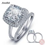 Ataullah 2Pcs 13*10MM Big 925 <b>Sterling</b> <b>Silver</b> Rings Set for Women Zircon SONA Diamond Wedding Ring for Engagement <b>Jewelry</b> RWD840