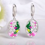 RainMarch Boho Enamel Silver Drop Earring For Women Engagement 925 Sterling Silver Earring CZ <b>Handmade</b> Wedding Party <b>Jewelry</b>