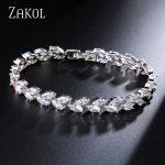 ZAKOL Trendy Bride <b>Jewelry</b> Sliver Color Leaf Charm Cubic Zirconia Bracelet & Bangles Clear CZ Crystal Bangles For Women FSBP061