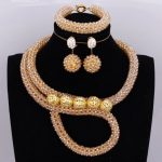Fashion Women Wedding Dubai <b>Jewelry</b> Sets Gold Crystal Plated Balls Necklace Set Bridal <b>Handmade</b> Jewellery Set Free Shipping