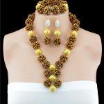 Latest African Gold Beads Bridal <b>Jewelry</b> Set 2016 Fashion Women <b>Jewelry</b> Set <b>Handmade</b> Nigerian Beads Necklace Set Free Shipping