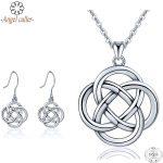 Angel Caller Genuine 925 Sterling <b>Silver</b> Jewelry Sets Lucky Celtics Knot Pendant Necklace Dangle <b>Earrings</b> for Women Fine Jewelry