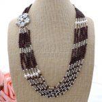 N070204 24″ 6 Strands White Pearl Garnet Necklace