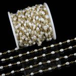 5meters Bulk AAA Pearl Chains <b>Jewelry</b> Crafts Bracelet,Real Genuine Pearl Nugget Beads Chains Bronze Plating Copper Rosary Chains