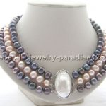 Wholesale price 16new ^^^^Beautiful 17-19″ 3row 9mm natural black pink round freshwater pearl <b>necklace</b>