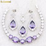 Lan High Quality <b>Silver</b>-Planted Jewelry Sets Purple AAA Zircon Ring Necklace&Pendant Earrings For Wedding Free Shipping