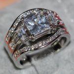 Fashion <b>Jewelry</b> <b>Handmade</b> Princess cut 8mm 5A zircon 5A Zircon stone 14KT White Gold Filled Engagement Wedding Band Ring Set