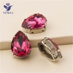YANRUO #4320 All Sizes Fuchsia Drop Fancy Stones Sewing Crystal Strass Point Back Rhinestone For <b>Jewelry</b> <b>Making</b>