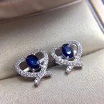 Natural dark blue sapphire stud earrings 925 <b>silver</b> natural gemstone earrings women fashion Heart Peach party Earrings <b>jewelry</b>