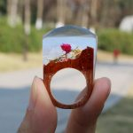 Fimme 2018 Designer Wooden Ring with Rose Blossom DIY Ring Miniature Scenery Worlds Inside Ring for Women Men <b>Handmade</b> <b>Jewelry</b>