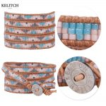 KELITCH bracelet Colorful Seed Beads Leather Wrap <b>Handmade</b> Beach Bracelets For Summer <b>Jewelry</b> Card Box Gifts custom logo beads