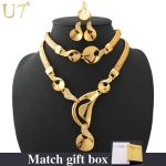 U7 Gold Color Bridal <b>Jewelry</b> Sets For Women Trendy Rhinestone <b>Necklace</b> Bracelet Earrings Ring Africa <b>Jewelry</b> Set S442
