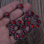 KEJIALAI Luxury <b>Handmade</b> <b>Jewelry</b> Red Water Drop Crystal Pave Rhinestone Big Hyperbole Long Drop Dangle Earrings For Women