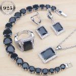 Cubic Zirconia Bridal Costume Jewelry Sets Women <b>Silver</b> 925 Jewelry Black Earrings Ring <b>Bracelet</b> Pendant Necklace Set Gifts Box