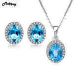 MoBuy Natural Gemstone Blue Topaz 2pcs Jewelry Sets 100% 925 Sterling <b>Silver</b> For Women Anniversary Gift Fine Jewelry V039EN
